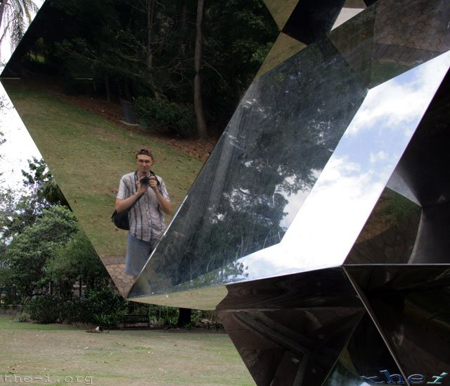 Ned in mirror at Brisbane Botanical Gardens