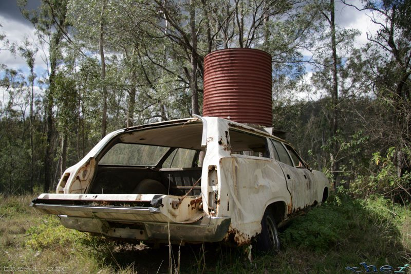Our old car, and the water tank