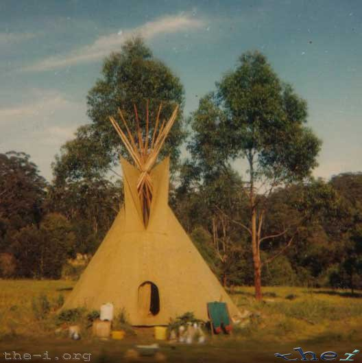 Tepee with trees